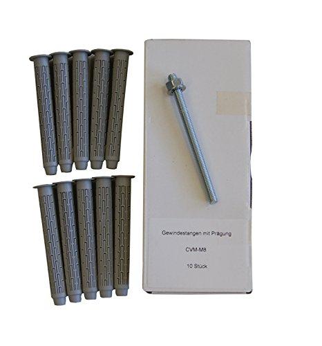 Preisvergleich Produktbild Sanremo SET 15 - 10x Ankerstange M8 x 110mm verzinkt + 10x Siebhülse 13x100mm - Verbundmörtel Injektionsmörtel Montagemörtel
