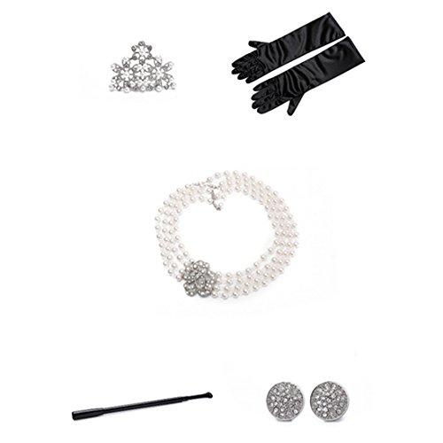 Audrey Hepburn Frühstück bei Tiffany Kostüm Perlenschmuck und Zubehör Set / Flapper Kleider für Mädchen (2-7 Jahre)