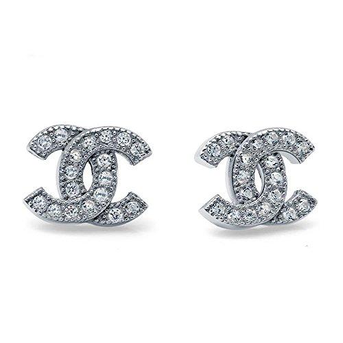 det / Sterling Silber Cubic Zircons Goldfisch Ohrringe. Geschenk für Frauen Mädchen (F617) (Sterling Silber) ()