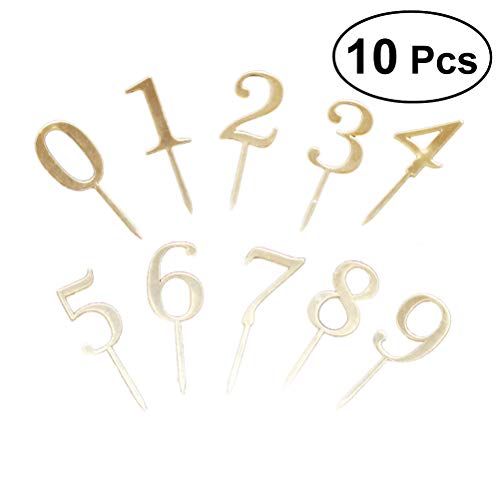 BESTONZON 10pcs Acryl Zahlen Kuchen Topper 0-9 Tischnummern für Hochzeitstag oder Geburtstag Party Dekorationen