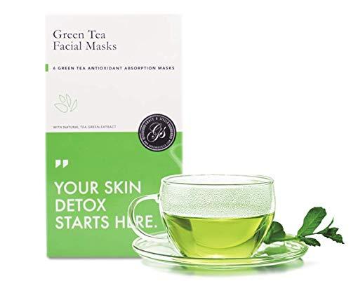 BESTE Grüner Tee Gesichtsmasken (6Er Set) | Tuchmasken | Anti-Oxidant | Entgiftung | Reinigun | Entzündungshemmend | Anti-Aging | Anti-Falten | Verbessert den Teint | Entspannend
