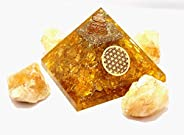 Sawcart Combo of Citrine Orgone Crystal Pyramid with Flower of Life Symbol & 4 Pieces of Natural Raw Rough