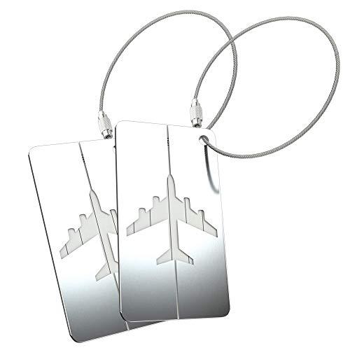 2 x LetiStore Kofferanhänger Namensschild - Gepäckanhänger mit Metall Adressschild - Koffer Tags - Flugzeug ID Tags Im Set Bunt Aus Aluminium Silber