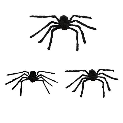 F Fityle 3 STÜCKE Große Pelzigen Spinne Plüschtier Für Halloween Party Outdoor Inddor Dekoration, 60 cm + 90 cm + 125 cm