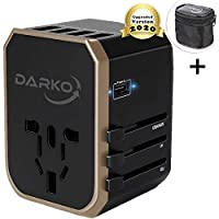 Universal Travel Adapter, Multi Adapter Worldwide, International Power Adapter 4 USB Fast Charging Type-C Port, Plug Adapter with Zipper Travel Pouch - Ports for USA, Europe, UK & Asia - All Countries