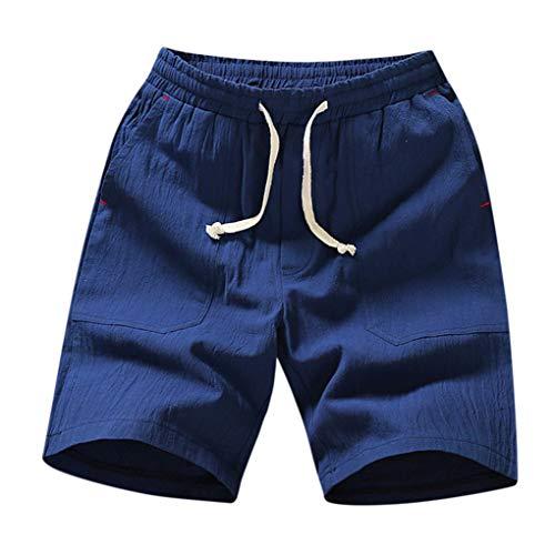 Herren Leinen Baumwolle Shorts/Skxinn Männer Sommer Solid Strandhosen Casual Elastische Taille Klassische Passform Hosen Kurze Hosen M-5XL Ausverkauf(Blau,5XL)