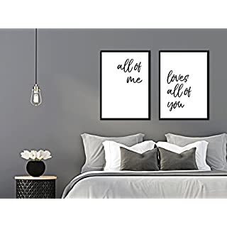 artissimo, Set:Spruchbilder gerahmt, 2 Stück je 51x71cm, PE6222-ER, All of me Loves All of You, Bild, Wandbild, Wanddekoration, Poster mit Spruch, Typographie, Typografie