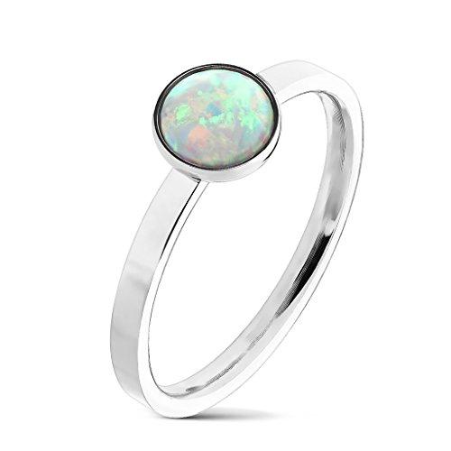 Tapsi´s Coolbodyart® Fingerring Edelstahl silber mit weißem Opal Größe : 5/6/7/8/9