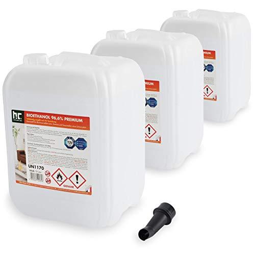 Höfer Chemie 30 L (3 x 10 L) Bioethanol 96,6{431b8e2cb23a3c7e4643147342697cce1a52226166b2b068db0bd5afe3200cd5} Premium - TÜV SÜD zertifizierte QUALITÄT - für Ethanol Kamin, Ethanol Feuerstelle, Ethanol Tischfeuer und Bioethanol Kamin