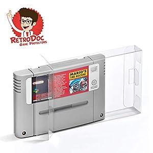 10 Klarsicht Schutzhüllen für Super Nintendo Game Module Carts – Passgenau und Glasklar – PET – Retro-Doc Game Protectors – SNES Modul – Extra Laschen – Extra Schutzfolie – SNES Spielemodule