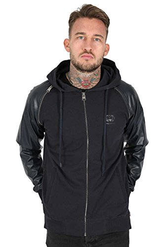 JUNQ COUTURE® Avaris Jacket Cotton Fleece Jacket with PU Leather Sleeves and Zipped Mens Hooded Jacket - Couture Blazer