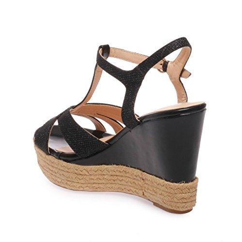 La Modeuse Sandales Femme à Talon Compensé Haut Noir