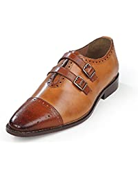 Men's Dual Tone Tan Leather Monk Strap Formal Shoes- UK Export Quality