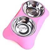Ocamo Stainless Steel Double Pet Bowls Anti-Slip Food Water Feeder Feeding Dishes For Dog Puppy Cats Pets Supplies Pink Small