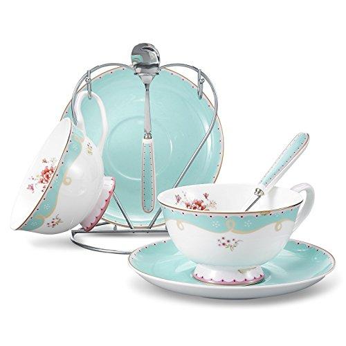 Panbado Service à Café Thé Porcelaine Anglais, Tasses à Thé Porcelaine à la Cendre d'Os 200ml avec Soucoupe Cuillère Porte-Tasse Bone China pour 2 Personnes (016)
