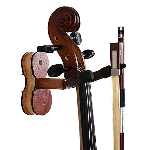 Violon en bois cintre, bestsounds Violon Crochet en palissandre avec nœud de suspension pour mur Quantité Home Studio et utilisation palissandre