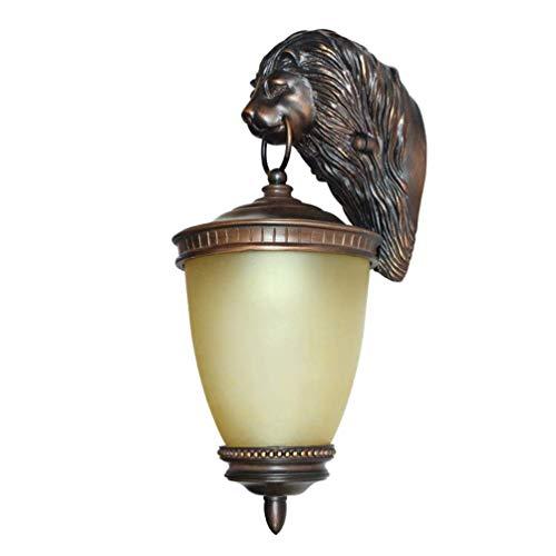 Jackjo lampada da parete per esterni testa di leone da esterno lampada in resina impermeabile lampada da parete creativa antica paralume in vetro balcone illuminazione e27 [classe energetica a]
