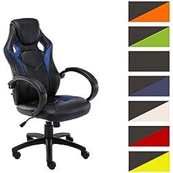CLP Silla Gaming / Silla de oficina MAGNUS, asiento de LUJO ajustable en altura, revestimiento de cuero sintético azul