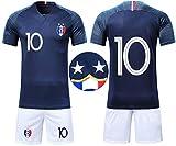 OUJD Ensemble de T-Shirt Maillots de Football Enfant France 2 étoiles Champion Enfant Ensemble de Sport Garçon T-Shirt et Short