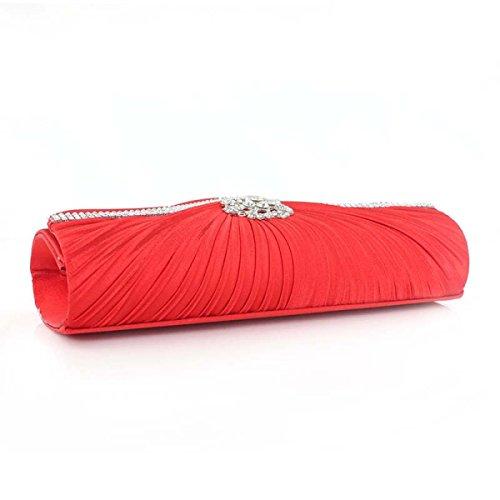 Frauen Plissee Kristall-verzierte Satin Handtaschen-Abend-Kupplungs-Hand Partei Wilde Red