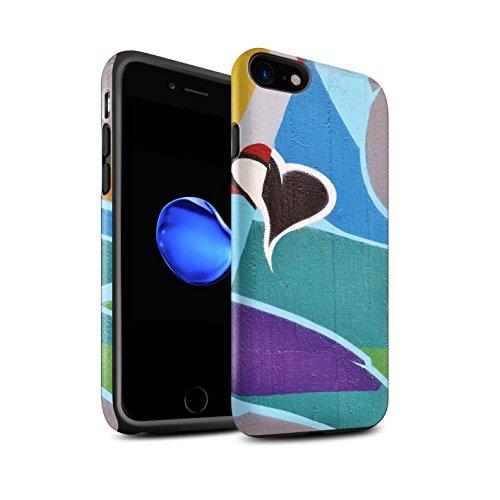 STUFF4 Matte Harten Stoßfest Hülle / Case für Apple iPhone 8 / Alte Fabrik Muster / Städtisch Straße Kunst Kollektion Bunt/Herz