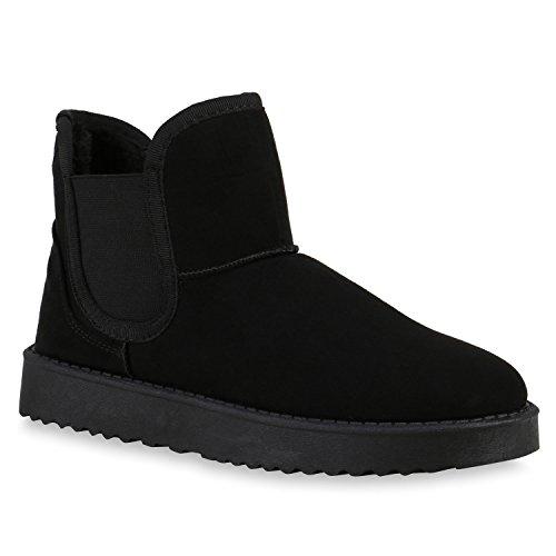 126ba5bd4715fa Warm Gefütterte Schlupfstiefel Stiefeletten Chelsea Boots Style Schwarz