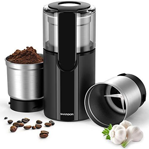 SHARDOR Molinillos de Café Eléctricos Multifuncional Gran Rotación 2 Bols Extraible...