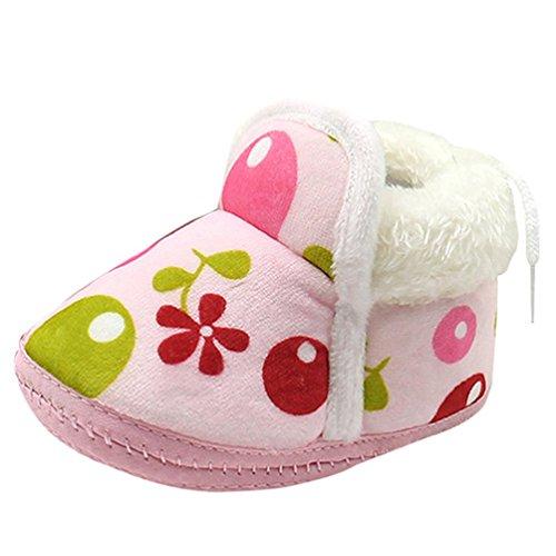 Babyschuhe Longra Kleinkind neugeborenes Baby Cartoon Stiefel Schuhe weiche Sohle Prewalker lauflernschuhe krabbelschuhe warme Schuhe Pink