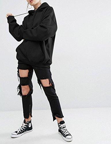 Angelwing Damen Kapuzenpullover Lange Hoodie Mit Große Taschen Hoody Kapuzen Shirts Baggy Sweatshirts Sportswear Herbst Winter Schwarz