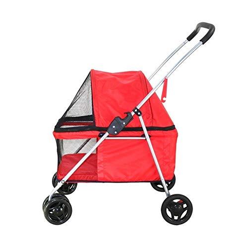 Poussette pour Chien, Chariot Remorque Vélo en Marchant 4 Roues De Plein Air Voyage Chien Handicapé Chat Pliant pour Petit Animaux Moyens (Color : Red)