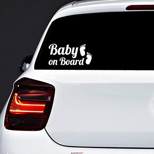 Autodomy adesivi baby on board bimbo a bordo piedi baby in car confezione 2 pezzi per auto (bianco)
