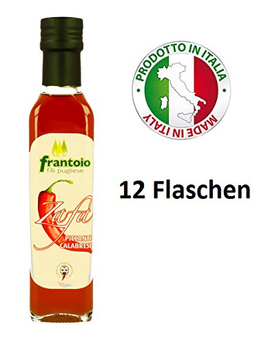 Natives Olivenöl Extra Hot Pepper Kalabrien Ohne Farbstoffe Handwerk - 12 Flaschen (25 cl.)
