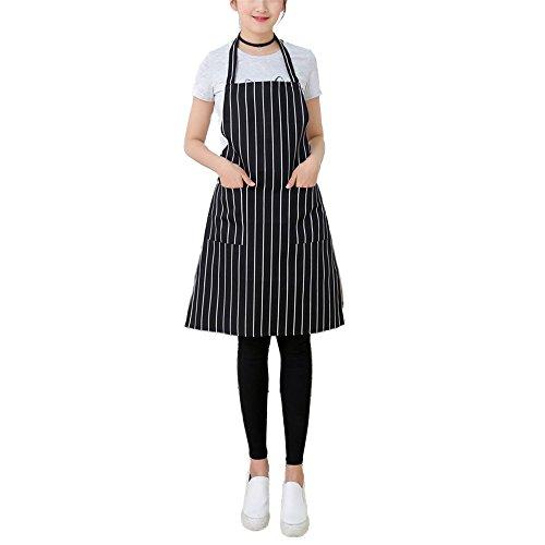 Nunubee Schürzen Führer Küchen Haushalt Grillschürzen Arbeitskleidung Heimtextilien, schwarz-weiß gestreifte 60*70cm