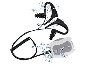 Underwater Waterproof Sports MP3 Music player Speedo 1.0 4GB Aquabeat for swimming, surfing, rowing, skiing, water sports or synchronised swimming- White and Grey with latest headphone design