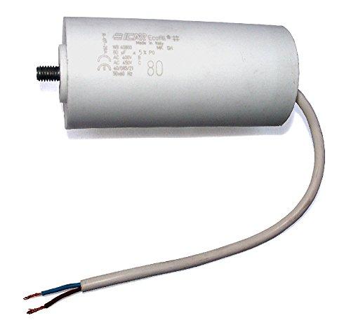 MKP - Motorkondensator 80uF, Kondensator 80,0µF 400/450VAC mit fest angeschlossenem Anschlußkabel, verwendbar als Betriebskondensator oder Anlaufkondensator (Anlasskondensator), Wickel aus selbstheilender metallisierter Polypropylenfolie im Kunststoffbecher, europäisches Markenfabrikat von ICAR mit patentiertem Multifix-Befestigungssystem (Gewindebolzen M8 im Lieferumfang)