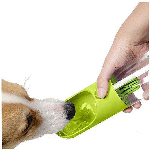 mascotas perros accesorios, Sannysis Botella de dispensador de agua portátil de viaje para mascotas Caldera de filtrado para perros para mascotas al aire libre Pet Travel Portable Water Bottle (Verde)