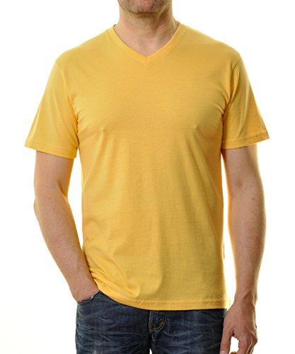 RAGMAN Herren RAGMAN T-Shirt V-Ausschnitt Single-Pack Gelb-515