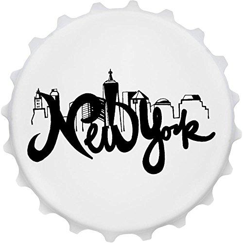 Azeeda 'New York' Cap Förmiger Flaschenöffner Kühlschrankmagnet (BO00012165) (New Bier Bar In York)