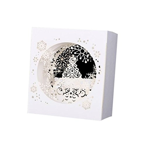 lzndeal Pop Up Manuel 3D Carte de Voeux Joyeux Noël Arbre de Noël Sapin de Noël Flocon de neige Blanc