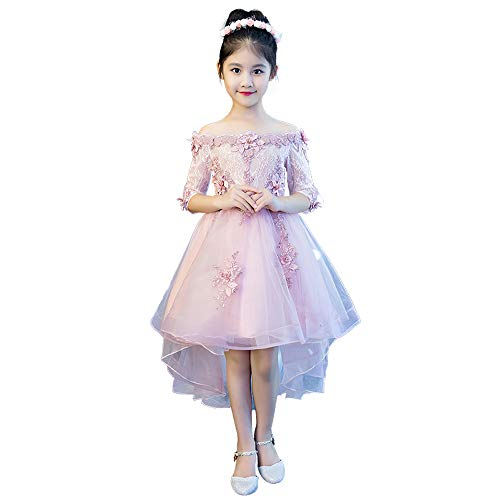 HUO FEI NIAO Tanz Kostüm-Prinzessin Kleid Kinder Laufsteg Klavier Kostüm Hochzeit Blumenmädchen Fluffy Gastgeber Sommer Abendkleid (Farbe : Rosa, größe : 120cm) (Kinder Klavier Kostüm)