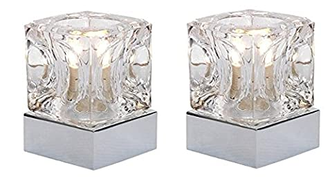PAIR of Ice Cube Glass Modern Touch Table Lamp with