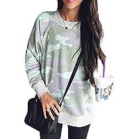 Camouflage Sweater Damen Casual Oberteile Rundhals T-Shirts Langarm Blusen Jumper Tops S-XL