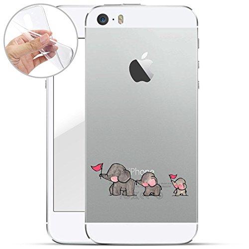 finoo | iPhone 5 / 5S Weiche flexible Silikon-Handy-Hülle | Transparente TPU Cover Schale mit Motiv | Tasche Case Etui mit Ultra Slim Rundum-schutz | Elefanten Marsch
