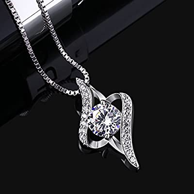 "B.Catcher Women Necklace 925 Sterling Silver Necklace Cubic Zirconia Pendant, 18"""