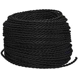 BarcelonaLED LV001-N Cable Eléctrico Textil Trenzado Estilo Vintage Color Negro (precio x metro)