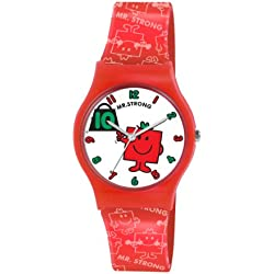 Mr Men and Little Miss Boy's Quartz Watch with White Dial Analogue Display and Red PU Strap LM0006