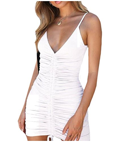 Tootlessly-Women Basic Style Spaghetti Strap Mini Bodycon V Neck Dress