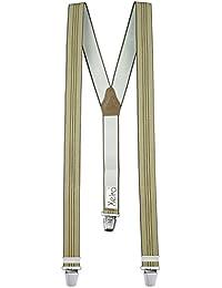Hochwertige Hosenträger in Trendigen Beige - Blaue Streifen Design - EXTRA LANG und EXTRA STARKE CLIPS