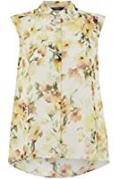 Womens Floral Watercolour Blouse - Ladies - Yellow - Size 10 12 14 18