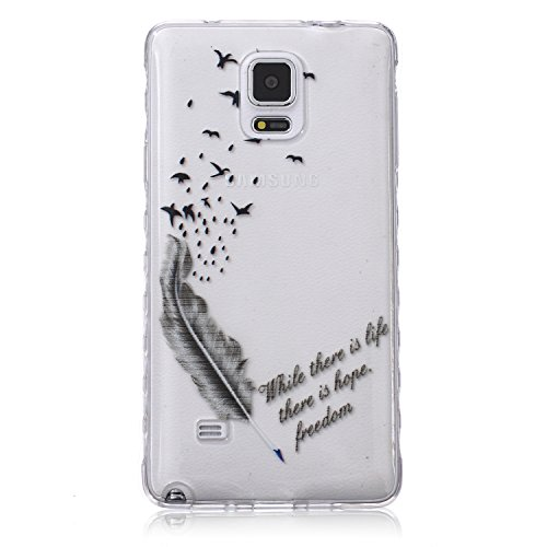 Samsung Note 4 Silicone Housse - Felfy Clair Ultra mince Slim Coque Pour Samsung Galaxy Note 4 papillon blanc Clear Crystal Gel Souple Soft Flexible TPU Silicone Etui Protective Bumper Cas Cover Trans Noir la Plume